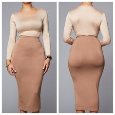 Pre-Order for delivery in 2 weeks! High Waisted Bodycon Midi Skirt Knee Length Size: 2, 4, 6, 8, 10, 12 Color: Black, Nude, Olive Green, White, Royal Blue, Pink Material: 95% Polyester, 5% Spandex Pac