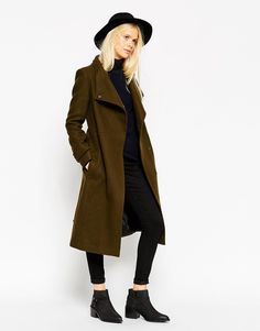 ASOS Coat With Funnel Neck And Belt In Wool