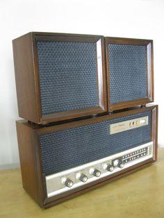 SEARS Silvertone Tube table top AM/FM radio- tuner -retro radio -working condition- sounds fantastic -walnut- wood -1960s Mid century design by oakiesclaptrap on Etsy
