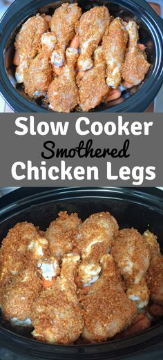 Slow Cooker Chicken Legs - an easy chicken recipe for busy weeknights. Smothered Chicken Legs are a family favorite and are so easy to make. 5 Minutes of Prep and the slow cooker does all the work. #crockpot #slowcooker #recipes #chicken