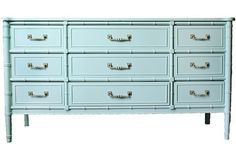 Henry Link Faux Bamboo Chest Painted In Aqua