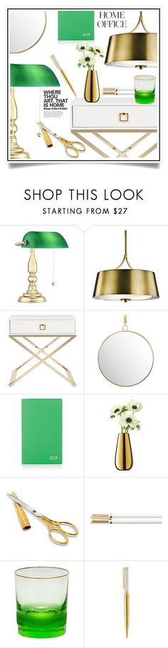 """Work Hard: Home Office"" by ewa-naukowicz-wojcik ❤ liked on Polyvore featuring interior, interiors, interior design, home, home decor, interior decorating, Kichler, Safavieh, Smythson and LSA International"