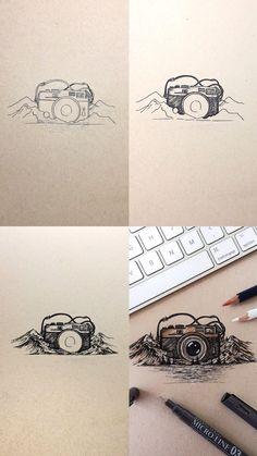 Cartoon Drawing Techniques Mini Tutorial of a pen and ink camera illustration with step by step process photos Illustrator Tutorials, Art Tutorials, Camera Tattoo Design, Camera Drawing, Camera Painting, Camera Illustration, Ink Doodles, Doodle Art Journals, Pen Sketch