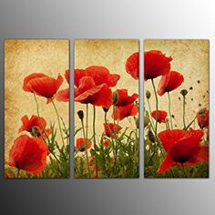 Image result for poppy flowers painting on 3 canvas