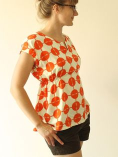 tomato rayon top by madebyrae, via Flickr  Sewing website!  This top is perfect for an apple!