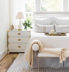 """Bungalow 5 on Instagram: """"We hope your Saturday is as peaceful and serene as this bedroom design by @marieflaniganinteriors. Love seeing our Victoria Side Table…"""""""