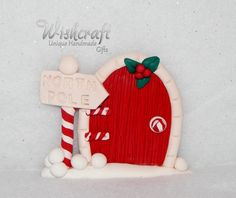 Christmas Fairy Door Ornament  polymer clay    by Wishcraft2013