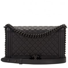 Chanel SO Black Quilted Grained Lambskin New Medium Boy Bag Chanel Le Boy, Chanel Purse, Chanel Handbags, Designer Handbags, Designer Purses, Chanel Bags, Quilted Handbags, Leather Handbags, Designer Shoulder Bags