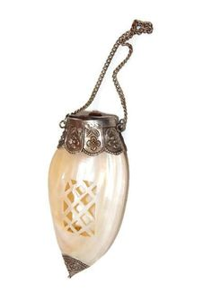 Edwardian Shell Scent Bottle Purse with Silver Ends