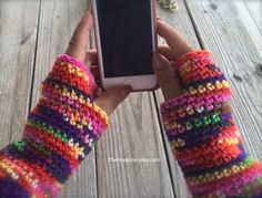 Hand Crocheted Aztec Print Texting Gloves, Fingerless Gloves, Crocheted Arm Warmers, Multicolored Fingerless Gloves, Boho Bohemian Gloves by TheHookster on Etsy