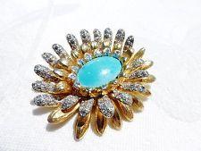 AMAZING Vintage Turquoise RHINESTONE Flower BROOCH by Nettie Rosenstein