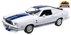 1:18 Charlie's Angels (TV Series 1976–81) 1976 Ford Mustang Cobra II - White with Blue Racing Stripes