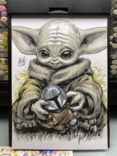 Baby Yoda by Stanley Artgerm Lau Art Sketches, Art Drawings, Yoda Drawing, Images Star Wars, Star Wars Drawings, Marvel Comics Art, Baby Groot, Comic Book Artists, Disney Drawings