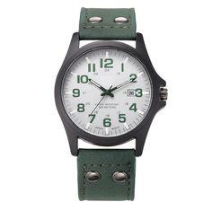 Cindiry Men New Arrival Vintage Quartz Wrist watches Men's Date Leather Strap watches Sport Quartz Clock Military Wristwatch P30 #Affiliate