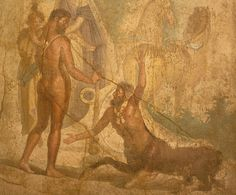 A Roman Wall Painting in the Fourth Style: Hercules and the Centaur Nessos