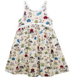 Girls Dress Halter Sleeveless Frog Mushroom Lotus Flower Size 2-6 Years