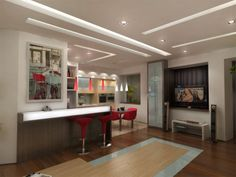 This article will tell readers about the use of plasterboard in the kitchen ceiling. Can anyone mount plasterboard suspended ceiling systems in the kitchen? Faux Plafond Design, Suspended Ceiling Systems, Hotel Door, Best Kitchen Designs, Small House Plans, Ikea Kitchen, Elle Decor, Cool Kitchens, Living Room Designs