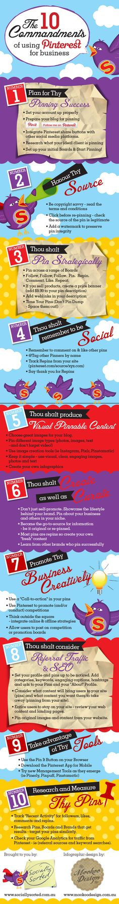 Ten Commandments of Pinterest Infographic. This infographic is full of helpful hints to best use Pinterest for your business or blog. ------ HugSpeak can assist you in creating eye-catching and interesting ways to communication information. To learn more, visit www.HugSpeak.com