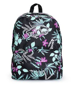 A vibrant floral print pops against the Black exterior of this mid-size backpack that comes equip with ample storage space perfect for carrying all your necessities.