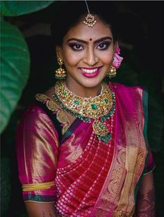 Indian Jewelry Earrings, Indian Wedding Jewelry, Wedding Attire, Wedding Day, Tikka Designs, Pink Bridal Lehenga, Sabyasachi Collection, South Indian Bride, Bridal Looks