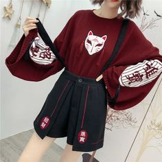 Cartoon Fox Embroidery Tassels Sweater Pullover Source by Modakawa clothes drawing Harajuku Fashion, Kawaii Fashion, Lolita Fashion, Cute Fashion, Harajuku Clothing, Vintage Fashion, Fox Sweater, Sweater And Shorts, Kawaii Sweater