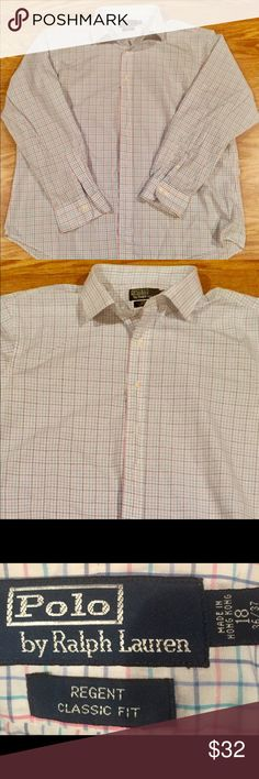 Polo Ralph Lauren Men's Regent Big and Tall Shirt 18 neck 36-37 Arm Classic fit custom big and tall neck and arms Blue gray tan stripes Great date night Shirt for that tall guy  with a causal flair to wow her  Can be worn with jeans or dress pants tucked in Polo by Ralph Lauren Shirts Casual Button Down Shirts