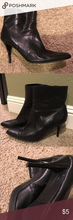 Nine West Stiletto Booties Soft and supple black leather boots. Exterior in good shape with no nicks. Interior is very well worn and ripped but not visible when wearing. Still has lots of life left. Very fitted around the foot- I'd say it feels like putting a glove on your foot! Price reflects wear in inside. Nine West Shoes Heeled Boots