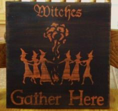 Primitive Witch Sign Witches gather Here Wiccan Witchcraft Pagan Halloween props signs Decor
