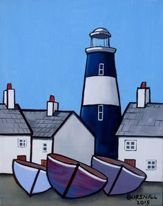 A blue and white lighthouse on the quayside with cottages and boats. Painted on stretched canvas with the image around the edges.