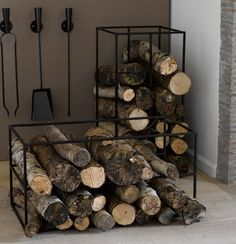 """Porte-bûches """"La redoute"""" 50 x 50 x 100 / 71 €) Fire Pit Grill, Wood Storage, Small Apartments, Firewood, Crafts, Inspiration, Am Pm, Home, Furnitures"""
