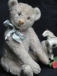 "VERY RARE ANTIQUE WHITE MARGARETHE STEIFF TEDDY BEAR 1920 w BUTTON LONG F 13.8"""