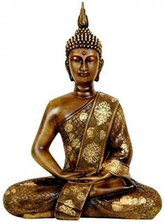 "Tibet Buddha Statue Golden Brown 11"" Thai Sitting Solid cast resin Home Decorate #Bellaa"