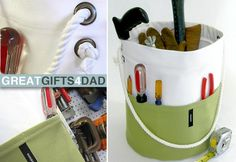 Always a great gift for guys. Rugged tool tote. Tutorial: http://sew4home.com/projects/storage-solutions/890-fathers-day-tool-tub-a-tote