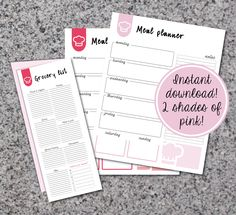 Printable meal planner and grocery list, instant download, meal organizer by ChloeDrapeauArt on Etsy