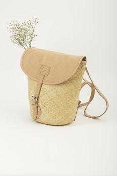 KokoKarma Rattan Backpack Nude Leather Handwoven Rucksack