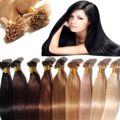 Keratin Pre Bonded 100% Remy Human Hair Extensions Nail U Tip Glue Wedding US
