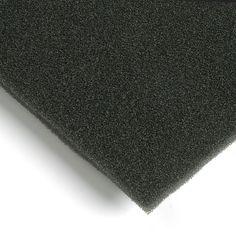 Espuma filtrante de aire. La espuma filtrante de aire es de color gris oscuro, se fabrica en poliuretano y se reticula sobre una base de poliéster. Es un material flexible muy adecuado para sistemas de aire acondicionado y climatización. Al ser una espuma de célula abierta permite - en función de su densidad - una filtración eficaz. Material World, Base, Decor, Charcoal Color, Grey Colors, Packaging, Manualidades, Decoration, Decorating