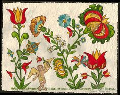 Pennsylvania Fraktur Art -Flower Garden by valleydeutsch