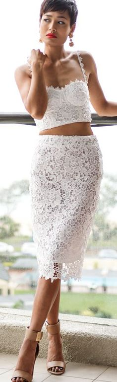 Misha Collection White Lace Fitted Midi Skirt And Top Suit by Micah Gianneli