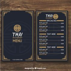 More than a million free vectors photos and icons restaurant menu indesign template Restaurant Menu Card, Restaurant Menu Design, Thai Restaurant, Cafe Menu, Menu Card Design, Food Menu Design, Speisenkarten Designs, Thai Food Menu, Chinese Menu