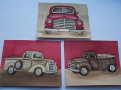 Vintage truck art-- would go cute with the red & brown plaid Madras PB Kids quilt