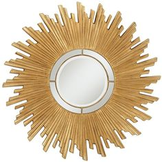 """Universal Lighting and Decor Tanudo Sun Gold 45 1/2"""" Wide Round... ($400) ❤ liked on Polyvore featuring home, home decor, mirrors, sunburst mirror, round wall mirror, round sunburst mirror, round beveled mirror and gold sunburst mirror"""
