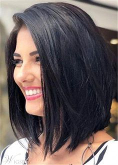 Bob Style Natural Straight Human Hair Lace Front Wig 16 Inches – Suzy's Fashion Modern Bob Hairstyles, Inverted Bob Hairstyles, Blonde Bob Hairstyles, Bob Hairstyles For Fine Hair, Medium Bob Hairstyles, Long Bob Haircuts, 30s Hairstyles, Hairstyles Videos, Layered Hairstyles