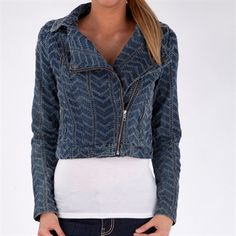 Free People Womens Contemporary Punched Herringbone Moto Jacket