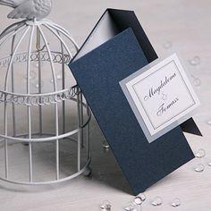 Zaproszenie ślubne z kolekcji subtelnej - perłowy granat   Zaproszenia Ślubne \ kolekcja subtelna Zaproszenia Ślubne   studio Brzoza
