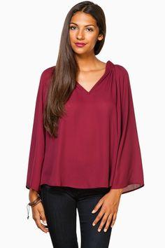 Cara Blouse in Burgundy / Shop Sosie #blouse #burgundy #airy #flowy #sleeves #mandarin #collar