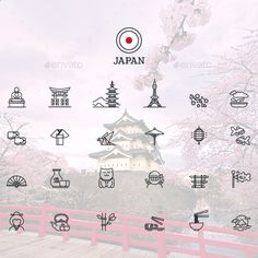 World Monuments Line Icons by iconsoul | GraphicRiver