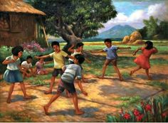 By Sylvia Amorsolo Lazo Filipino Art, Filipino Culture, Childhood Games, Childhood Memories, Philippine Art, Cute Kids Photography, Art Village, Indian Folk Art, Figure Sketching