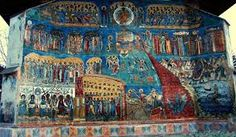 The Beautiful Voronetz Monastery - One of the Painted churches of Moldavia - Romania - listed in the UNESCO's list of World Heritage sites Fresco, Tree Of Jesse, Graffiti Names, Russian Icons, Sistine Chapel, Book Of Life, Kirchen, Blue Backgrounds, Black History