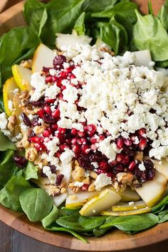 Pear Pomegranate and Spinach Salad | Cooking Classy
